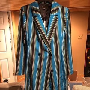 New Striped color Long Belted Jacket